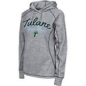 Colosseum Women's Tulane Green Wave Grey Crossneck Pullover Hoodie