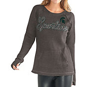 G-III For Her Women's Michigan State Spartans Charcoal Offseason Pull-Over Shirt
