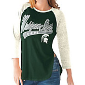 G-III For Her Michigan State Spartans Green/White Halftime Three-Quarter Raglan T-Shirt