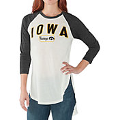 G-III For Her Women's Iowa Hawkeyes White/Black Tailgate Three-Quarter Raglan T-Shirt