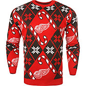 KLEW Men's Detroit Red Wings Candy Cane Ugly Sweater