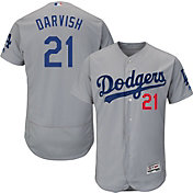 Majestic Men's Authentic Los Angeles Dodgers Yu Darvish #21 Flex Base Alternate Road Grey On-Field Jersey