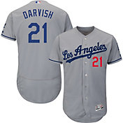 Majestic Men's Authentic Los Angeles Dodgers Yu Darvish #21 Flex Base Road Grey On-Field Jersey