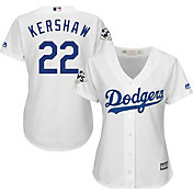 Majestic Women's 2017 World Series Replica Los Angeles Dodgers Clayton Kershaw Cool Base Home White Jersey