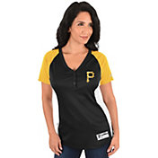 Majestic Women's Pittsburgh Pirates Diva Black V-Neck T-Shirt