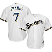 Majestic Youth Replica Milwaukee Brewers Eric Thames #7 Cool Base Home White Jersey