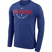 Nike Men's Philadelphia 76ers Dri-FIT Royal Practice Long Sleeve Shirt