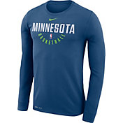 Nike Men's Minnesota Timberwolves Dri-FIT Blue Practice Long Sleeve Shirt