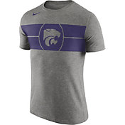 Nike Men's Kansas State Wildcats Grey Logo Basketball T-Shirt