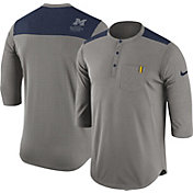 Nike Men's Michigan Wolverines Grey Dri-FIT Henley Shirt