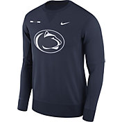 Nike Men's Penn State Nittany Lions Blue Therma-FIT Crew Football Sideline Sweatshirt