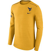 Nike Men's West Virginia Mountaineers Heathered Gold Player Football Sideline Long Sleeve Shirt