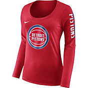 Nike Women's Detroit Pistons Dri-FIT Red Logo Long Sleeve Shirt
