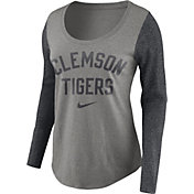 Nike Women's Clemson Tigers Grey Elevated Essentials Tri-Blend Long Sleeve Shirt