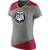 Nike Women's Georgia Bulldogs Grey/Red Champ Drive Football Dri-Blend V-Neck T-Shirt
