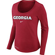 Nike Women's Georgia Bulldogs Heathered Red Slub Dri-FIT Long Sleeve Shirt