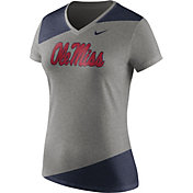 Nike Women's Ole Miss Rebels Grey/Blue Champ Drive Football Dri-Blend V-Neck T-Shirt