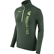 Nike Women's Michigan State Spartans Heathered Green Element Half-Zip Shirt