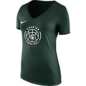 Nike Women's Michigan State Spartans Green Basketball Logo Tri-Blend T-Shirt