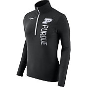 Nike Women's Purdue Boilermakers Heathered Black Element Half-Zip Shirt