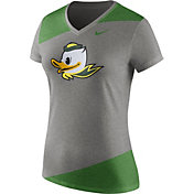 Nike Women's Oregon Ducks Grey/Apple Green Champ Drive Football Dri-Blend V-Neck T-Shirt