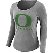 Nike Women's Oregon Ducks Grey Logo Tri-Blend Long Sleeve Shirt