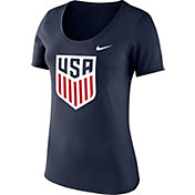 Nike Women's USA Soccer Crest Navy Heathered Scoop Neck T-Shirt