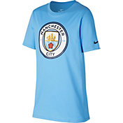 Nike Youth Manchester City Blue Crest T-Shirt