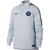 Nike Youth Dry Paris Saint-Germain Squad Grey Quarter Zip Shirt