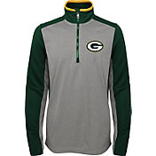NFL Team Apparel Youth Green Bay Packers Matrix Quarter-Zip Fleece Pullover