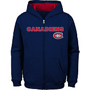 NHL Youth Montreal Canadiens Stated Navy Full-Zip Hoodie