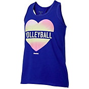 Reebok Girls' Cotton Keyhole Back Volleyball Heart Graphic Tank Top
