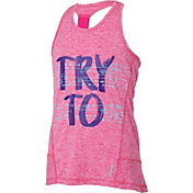 Reebok Girls' Elastic Back Try To Keep Up Graphic Tank Top