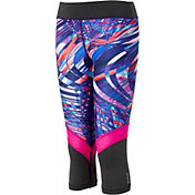 Reebok Girls' Warm Weather Compression Printed Pieced Capris