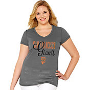Soft As A Grape Women's San Francisco Giants Tri-Blend Grey V-Neck T-Shirt - Plus Size