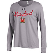 Under Armour Women's Maryland Terrapins Grey Charged Cotton Long Sleeve Shirt