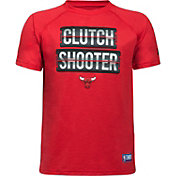 "Under Armour Youth Chicago Bulls ""Clutch Shooter"" Red Tech Performance T-Shirt"