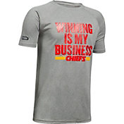 Under Armour NFL Combine Authentic Youth Kansas City Chiefs Winning Business Grey T-Shirt