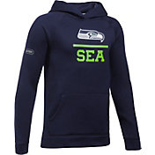 Under Armour NFL Combine Authentic Youth Seattle Seahawks Lockup Armour Fleece Navy Hoodie