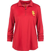 USC Authentic Apparel Women's USC Trojans Cardinal Rockland Quarter-Zip Shirt