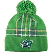 adidas Men's 2018 St. Patrick's Day Columbus Blue Jackets Green Pom Knit Beanie