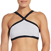 CALIA by Carrie Underwood Women's High Neck Cross Front Swim Top