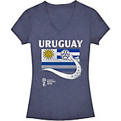 Fifth Sun Women's 2018 FIFA World Cup Uruguay Flag Ball Navy V-Neck T-Shirt