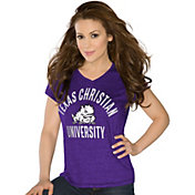 Touch by Alyssa Milano Women's TCU Horned Frogs Purple Sparkle V-Neck T-Shirt