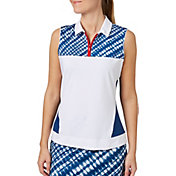 Lady Hagen Women's Americana Tie Dye Printed Sleeveless Golf Polo - Plus Size