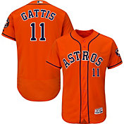 Majestic Men's Authentic Houston Astros Evan Gattis #11 Flex Base Alternate Orange On-Field Jersey