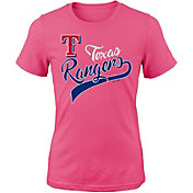 Majestic Youth Girls' Texas Rangers Tail Sweep Pink T-Shirt