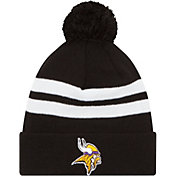 New Era Men's Minnesota Vikings Stripe Cuff Black Pom Knit
