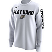 Nike Men's Purdue Boilermakers 'Play Hard' Bench Legend Long Sleeve White T-Shirt