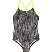 Nike Girls' Rush Heather Spider Back Swimsuit